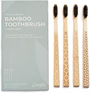 Zenify Earth Bamboo Toothbrush Adult (Set of 4) - Charcoal Infused Soft BPA Free Bristles - Biodegradable Hand