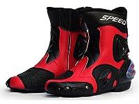 バイクシューズ ライディングシューズ レーシングブーツ バイク用 ショートブーツ ライダーブーツ (レッド, 40(25cm))