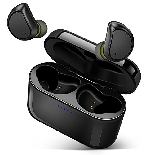 Bluetooth イヤホン ワイヤレス イヤホン bluetooth4.2 CSRチップ採用 高音質 防汗 片耳 両耳とも対応 充電式収納ボックス iPhone Android 対応 (316TS ブラック)