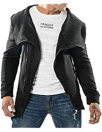 gawaga メンズ秋固体スウェットシャツ斜めジッパーフード不規則ヘムジャケット