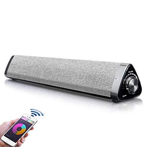 【最新強化版】PCスピーカー USB Bluetooth 5.0 スピーカー Fityou テレオ サウンドバー 【小型 大音量 高音質 マイク内蔵 ハンズフリー通話可 パソコン スマフォン テレビ対応 Bluetooth USB Speaker SoundBar】 日本語取扱説明書