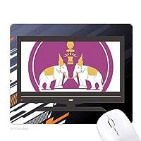 タイタイシールドで2つの象 ノンスリップラバーマウスパッドはコンピュータゲームのオフィス