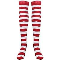 BESTOYARD Christmas Red White Stockings Thigh High Striped Over Knee Socks for Women Girls - Free Size