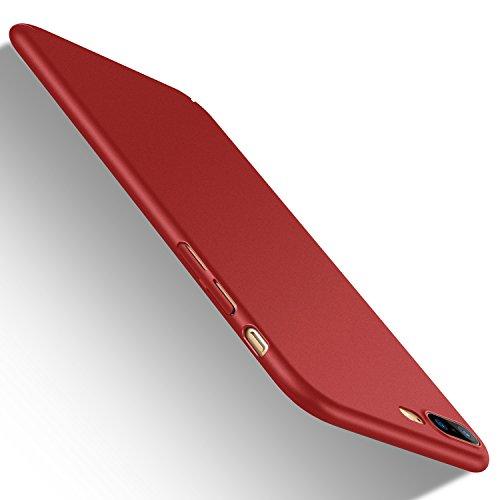 iPhone 8 Plus ケース iPhone7plus ケース [ 薄型 軽量 ] [ ワイヤレス充電 対応 ] [ レンズ保護 耐衝撃 指紋防止 ] [ ガラスフィルム 付き ] 赤(iPhone 7 Plus , iPhone 8 Plus , レッド )[Skin Series]【Humixx】