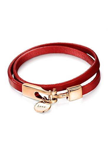 (ネオグロリー)Neoglory Jewelry ピンクゴールドの金具とフェイクレザーがエレガントな雰囲気を演出するバングル ブレスレット レディース ジュエリー アクセサリー