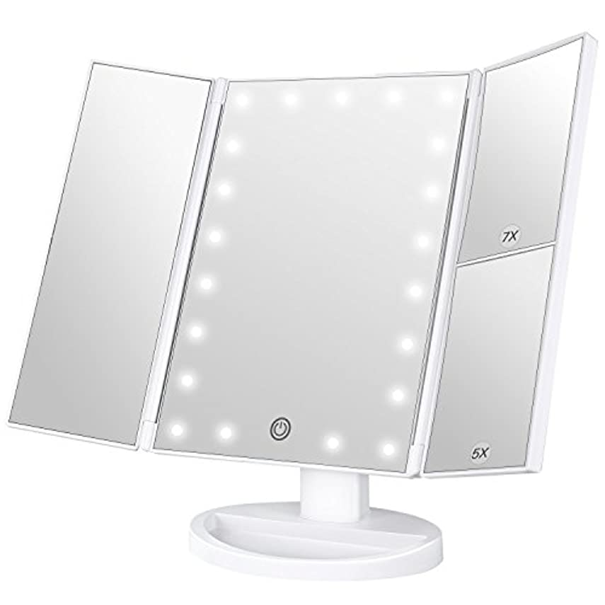 エネルギー男性計画BESTOPE 化粧鏡 卓上ミラー 鏡 三面鏡 卓上 led付き 折りたたみ 拡大鏡 5倍 7倍 明るさ調節可能 180°回転 電池&USB 2WAY給電 (ホワイト)