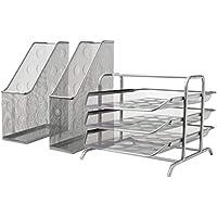 IKEA DOKUMENTマガジンコンボファイル+レタートレイ/シルバーカラースチールワイヤメッシュエポキシポリエステルパウダーコーティング