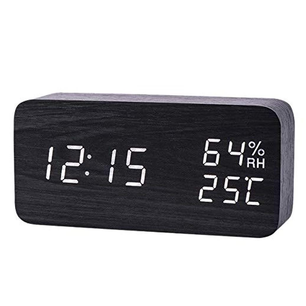 のヒープ大いにパシフィックXigeapg モダンなLed目覚まし時計、温度、湿度、電子デスクトップのデジタル置時計、黒色 + 白色の字幕