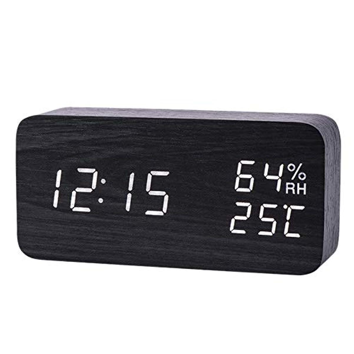落ち着いたはっきりしないスキニーXigeapg モダンなLed目覚まし時計、温度、湿度、電子デスクトップのデジタル置時計、黒色 + 白色の字幕