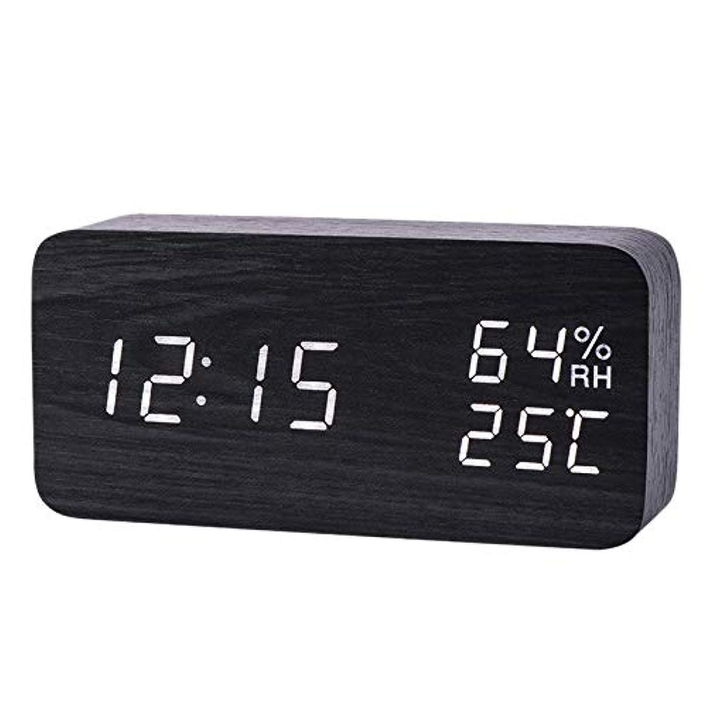 摂氏労働者アテンダントXigeapg モダンなLed目覚まし時計、温度、湿度、電子デスクトップのデジタル置時計、黒色 + 白色の字幕