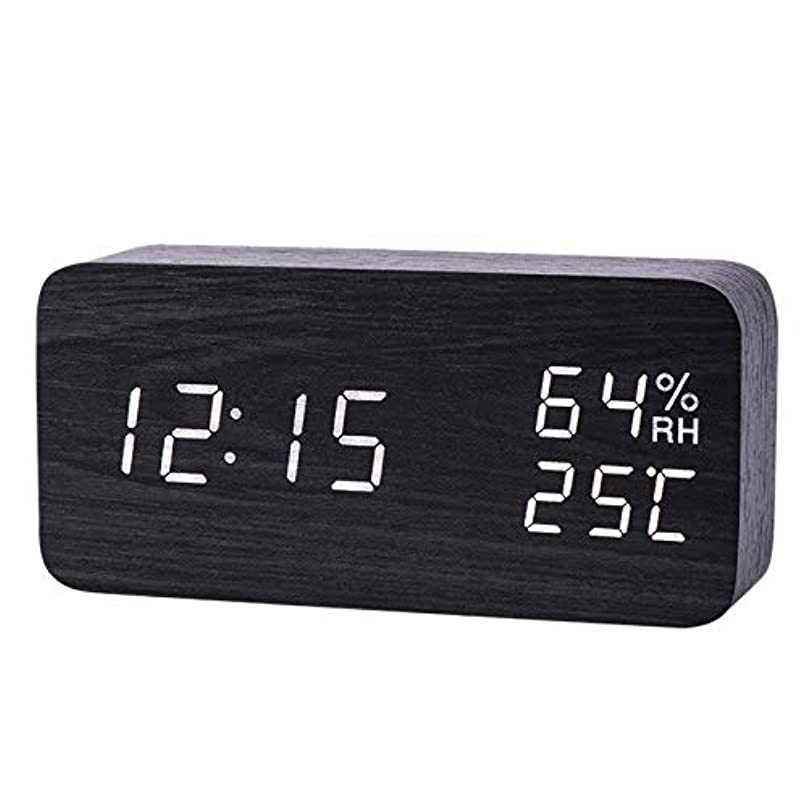 猫背ファイナンスに頼るXigeapg モダンなLed目覚まし時計、温度、湿度、電子デスクトップのデジタル置時計、黒色 + 白色の字幕