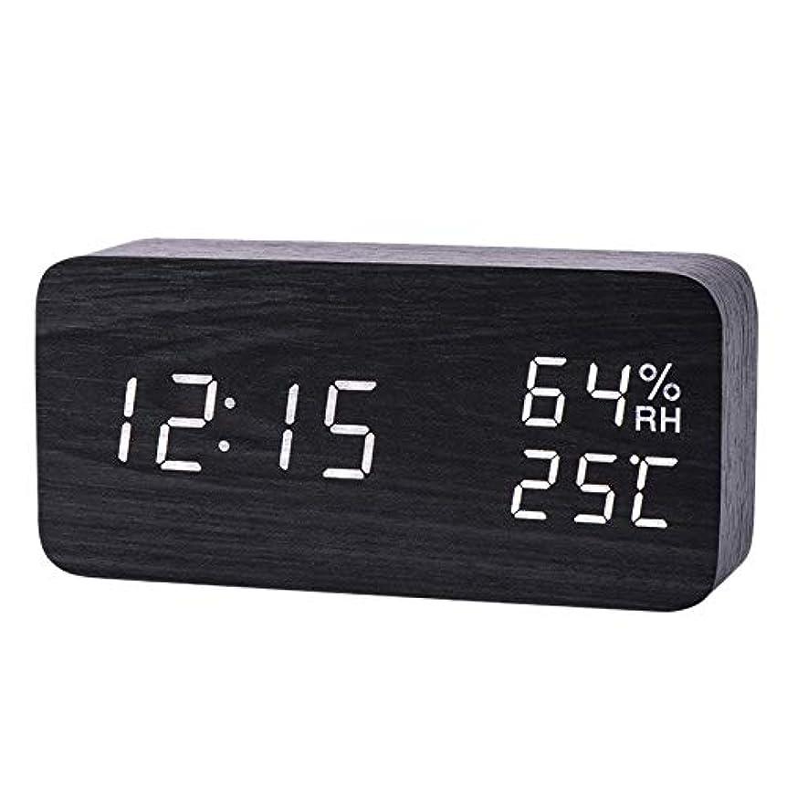 いつも謙虚聖職者Xigeapg モダンなLed目覚まし時計、温度、湿度、電子デスクトップのデジタル置時計、黒色 + 白色の字幕