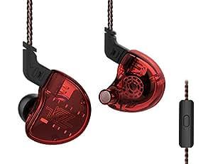 KZ ZS10 ダイナミックドライバー1基+バランスドアーマチュア型ドライバー4基 2pinリケーブル カナル型イヤホン ハイブリット 高純度銅ケーブル3.5mmプラグ 1DD+4BA低音 高遮音性 高音質HIFI 運動 ヘッドフォン NICEHCK (赤色マイク付き)