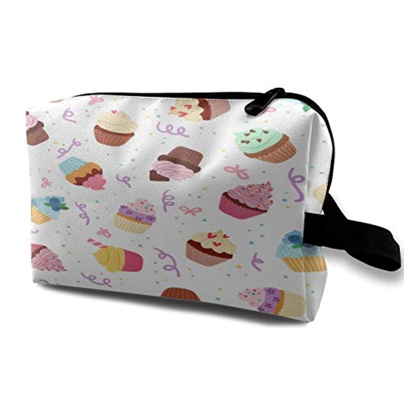 ハックお祝いフローLittle Delicious Cupcakes 収納ポーチ 化粧ポーチ 大容量 軽量 耐久性 ハンドル付持ち運び便利。入れ 自宅?出張?旅行?アウトドア撮影などに対応。メンズ レディース トラベルグッズ