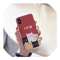 かわいい漫画猫塗装TPUケースiphone X XR XS XS最大マットソフトシリコンケースiphone 6 6 s 7 8 8プラスバックカバー、iphone 7プラス、style2