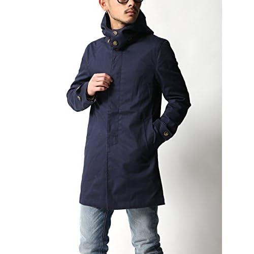 (レヴォ)Revo. メンズ コート ステンカラー スプリングコート ストレッチ パーカー ショップコート