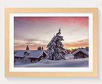 壁掛けインテリア絵画 - 冬の雪の家朝 - 天然木の色 壁掛け モダン インテリア アート 風景画 装飾 壁飾り 部屋の装飾 ポスターー - 40cmx30cm