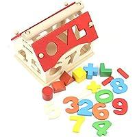 Upupo 子供用 木製 数字 建物ブロック 赤ちゃん 子供 勉強玩具