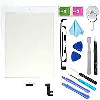 T Phael ホワイト フロントガラス修理キット iPad Air 2 9.7インチ第2世代 A1566 A1567 タッチスクリーンデジタイザー交換用 接着剤とツールキット付き (LCDは含まれません)