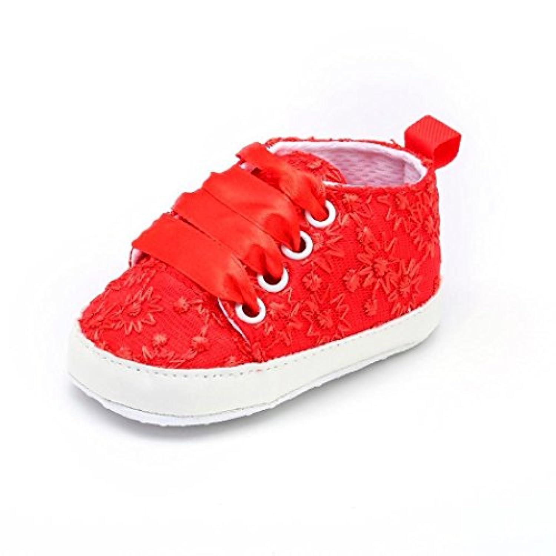 Kukiwa赤ちゃん靴 レース刺繍花 カジュアル幼児靴 かわいい 滑り止め ベビーシューズ 柔らかい 室内履き 出かけ