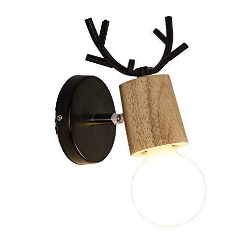 鉄製の壁灯 北欧 レトロE27 LED木材壁ライト Edis...