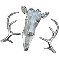 【ノーブランド 品】樹脂 実用的 鹿ヘッド 壁 ハンガー コート 帽子 フック 取り付け 5色選べる - グレー