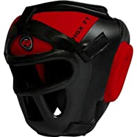 RDZG502 RDX レザーヘッドガード ヘッドギア フェイスバー取り外し可 赤