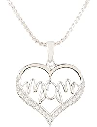 Ananth Jewels Mom Pendant Fashion Jewellery CZ with American Diamonds Necklace with Chain for Women
