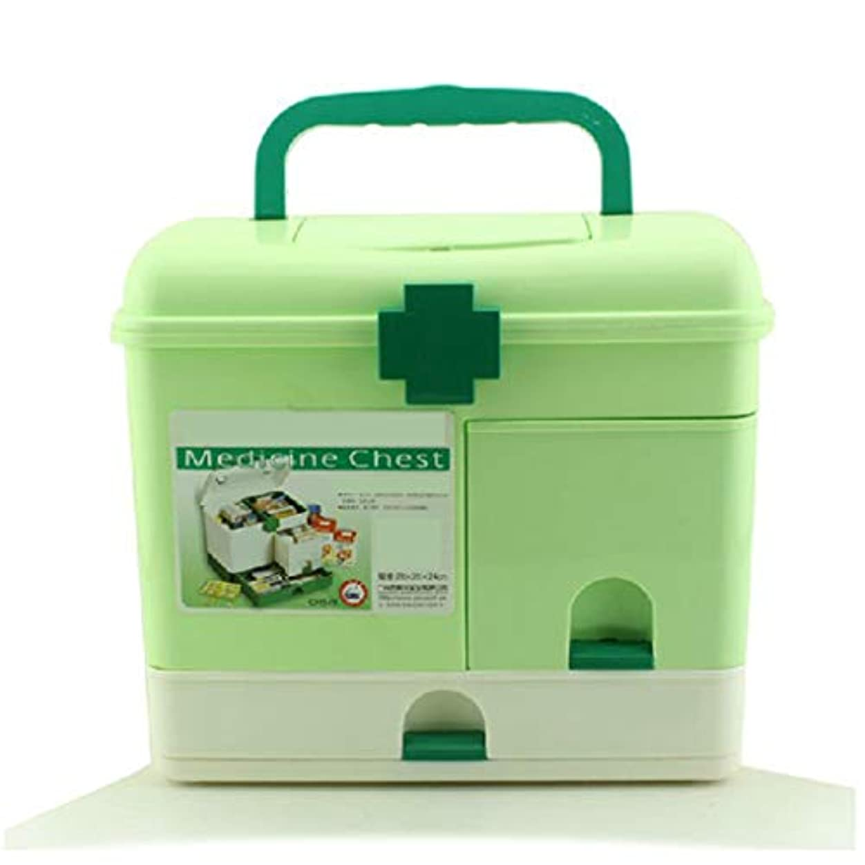 グラマー包帯アカデミー家庭用薬箱プラスチック大型応急処置箱多層医療箱携帯用薬収納ボックス ZHYGDQ (Color : Green)