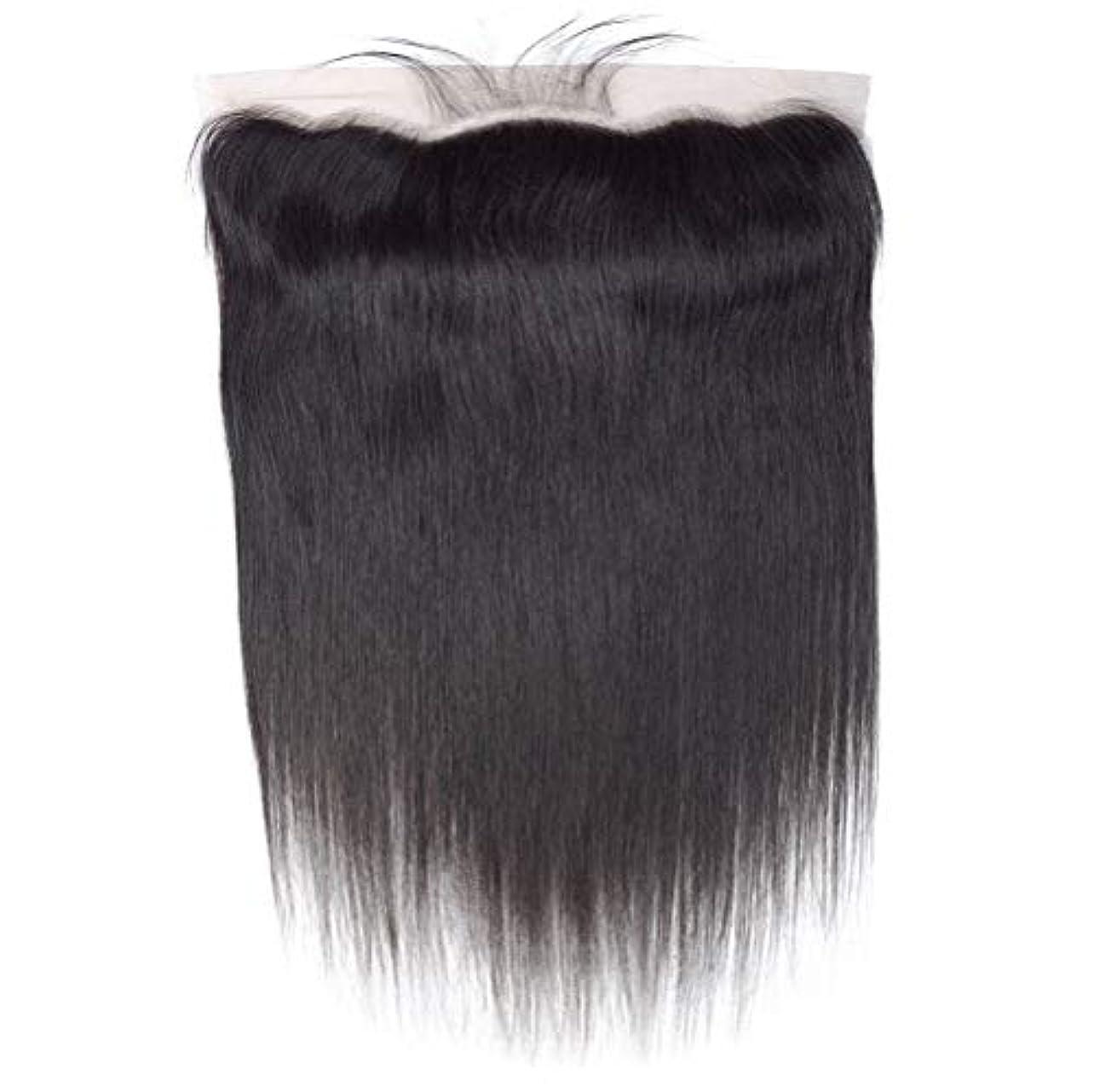 領収書器具夫婦髪の毛ブラジル髪織りまっすぐ人間の髪の毛レース前頭耳に耳13 x 4フリーパーツ前頭葉で赤ん坊の髪漂白ノットナチュラルカラー