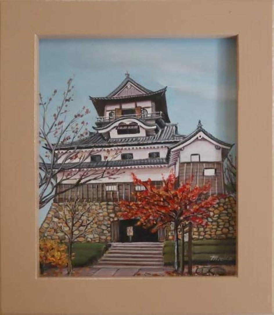 静的拒絶変えるトールペイント ご自分で描く風景画 図案付無塗装白木素材 cwk-219 犬山城