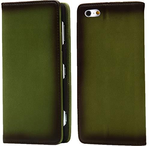 Esperanza 最高級 本革 iPhone6 iPhone6s スマホ ケース 古代ローマ帝国の伝統技法 スフマート製法  硬度 9H 強化 ガラスフィルム セット   アイフォン6 ケース 手帳型 マグネット式 カード ポケット スタンド 機能 付 (iPhone6, オリーブグリーン)