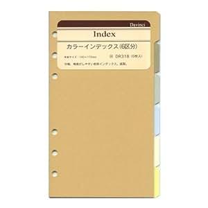 ダヴィンチ バイブルサイズ システム手帳リフィル  カラーインデックス DR318
