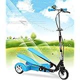 3-10歳の子供のための新しい子供の二羽三輪トレッドミル二重トレッド二羽スクーター ( Color : Blue )