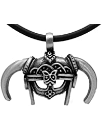 exoticdream中世Viking Dovahkiin Skyrim IronヘルメットBarbarian Warriorピューターペンダント+ 18