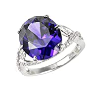 [女性用指輪リング]Ivy Gems Sterling Silver Purple and White Cubic Zirconia Ladies Dress Ring - Size K[並行輸入品]