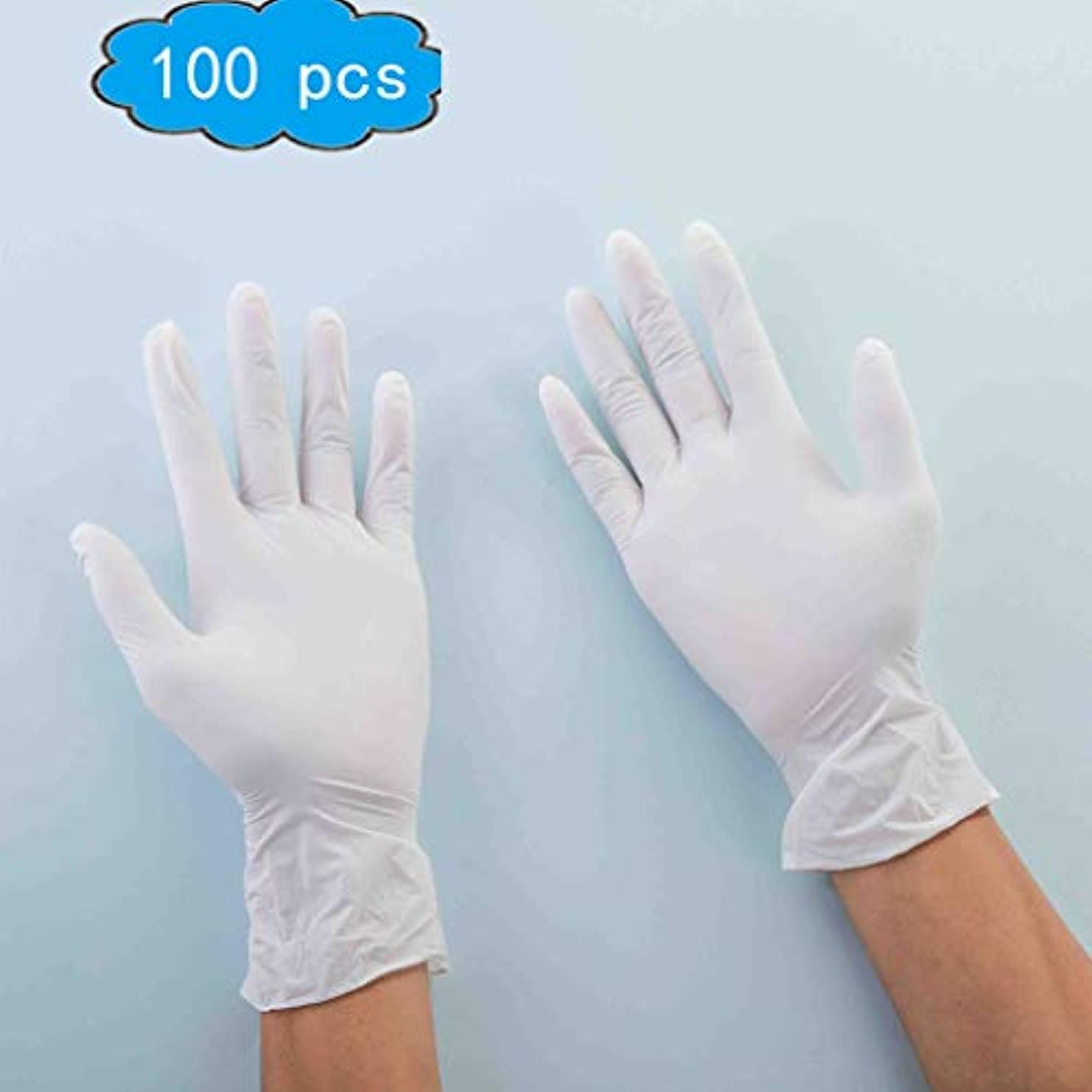 アフリカ人枝オリエント使い捨て手袋 - 白、厚めのバージョン、ニトリル手袋、パウダーフリー、試験、無菌、中、100箱、手と腕の保護 (Color : White, Size : L)