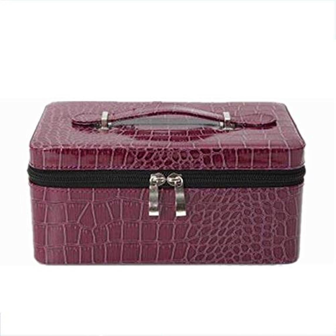 傀儡オーバーコートオプショナルエッセンシャルオイルボックス 旅行主催2-15用PU石油貯蔵スーツケースは完璧な旅行の荷物をまとめmlの アロマセラピー収納ボックス (色 : 紫の, サイズ : 22.5X14.8X10.3CM)