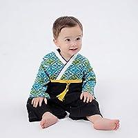 733a5c5d672d9 袴 ロンパース 男の子 着物風 和柄 カバーオール ベビー 袴 キッズ 袴風 フォーマル よだれかけ1