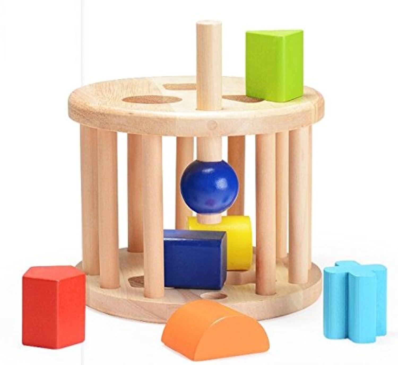 HuaQingPiJu-JP 子供のための創造的な木製の幾何学的なソートボックス教育形状色認識玩具