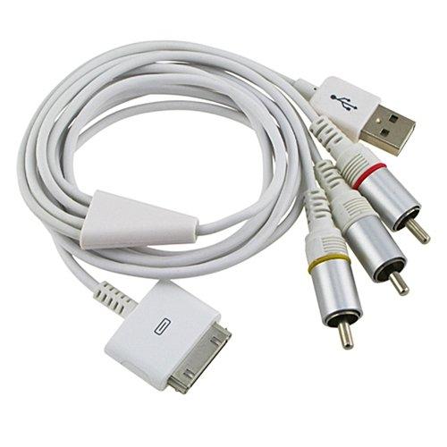 iPad、iPhone、iPod Touch用 AVケーブル(iOS3.13、iOS4、iOS5、iOS6にも対応)【Made for iPhone認証品】・HY-MAV1ホワイト