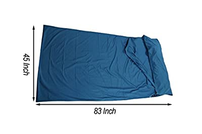 Himal Outdoors Travel and Camping Sheet Sleeping Bag Liner With Zipper Closure (Light Blue)
