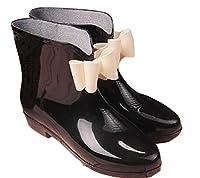 ZhongJue(ジュージェン) レディース レインシューズ ショート丈 レインブーツ 梅雨対策 雨靴 韓国ファッション 防水(23.5黒)