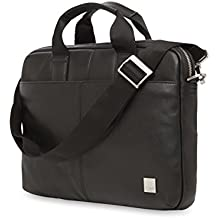 "Knomo Brompton Classic Stanford, 13"" Leather Laptop Briefcase, with Removeable Strap and RFID Pocket, Black"