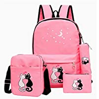 DYJD Cute Large Capacity School Book Bags for Teenagers Young Grils Printing School Backpack Set with Lunch Rucksack 4pcs/Set