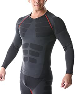 SPORTIA スポーツシャツ コンプレッションウェア 長袖 吸汗速乾 メンズ ブラック/レッド M