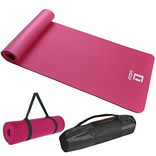 LICLI ヨガマット おりたたみ トレーニングマット エクササイズマット ヨガ ピラティス マット 厚さ 10mm 「 ストラップ 収納ケース付 」「 ニトリルゴム 滑り止め マットバッグ 」 11カラー (ピンク)