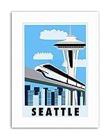 Seattle Washington USA Monorail Space Needle Picture Travel Canvas Art Print アメリカ合衆国