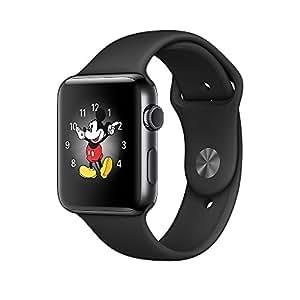 Apple Watch 38mm ステンレスケース ブラックスポーツバンド