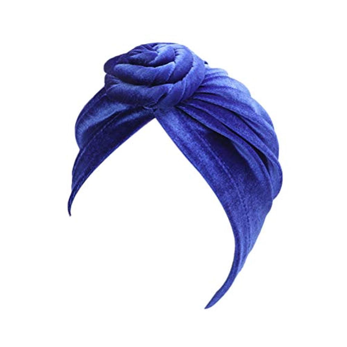 アクセシブルアクセシブル浸すHealifty 睡眠ナイトキャップ花装飾ワイドバンドボンネットナイトヘッドカバーソフトヘアターバン女性用ヘアビューティーケアキャップ(ブルー)